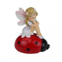 7.5cm Fairy Sitting on Lady Bug - Purple