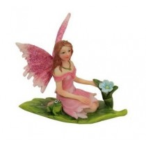 6cm Sitting Fairies on Leaf - Pink