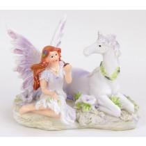 Fairy sitting with Unicorn - Purple