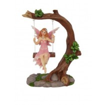 14cm Fairy on Tree on Swing - Pink