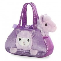 Fancy Pals Plush Peek-A-Boo Llama Purple Pet Bag
