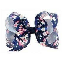 Floral Print Bow Hair Clip - Navy