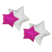 *Pink Poppy Glitter Star Hair Clips - Hot Pink (2pc)