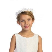 Flower Garland Headband  - White Crystal Flower