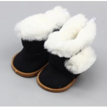 "18"" Doll Shoes - Fluffy Boots - Black"