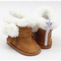 "18"" Doll Shoes - Fluffy Boots - Brown"