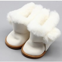 "18"" Doll Shoes - Fluffy Boots - White"