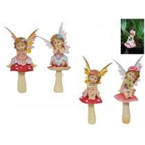 23cm Fairy on Mushroom Garden Stake