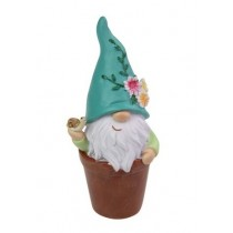 10cm Gnome Flower in Pot - Blue