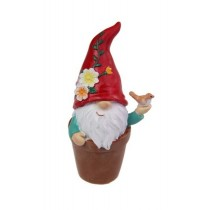 10cm Gnome Flower in Pot - Red