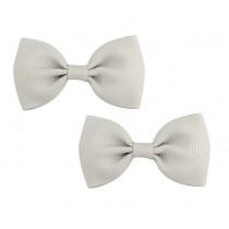 Bow Hair Clips - (2pc) - Grey