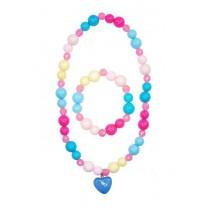 Pink Poppy Candy Jelly Heart Jewellery Set - Blue