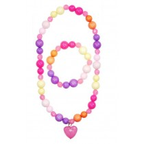 Pink Poppy Candy Jelly Heart Jewellery Set - Hot Pink