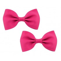 Bow Hair Clips - (2pc) - Hot Pink