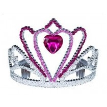 Pink Heart Tiara - Hot Pink