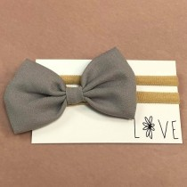 Infant Headband - Grey Bow