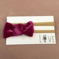 Infant Headband - Hot Pink Velvet Bow
