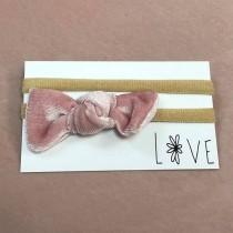 Infant Headband - Pink Velvet Bow