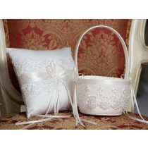 Flower Basket/Ring Pillow - Lace - Ivory