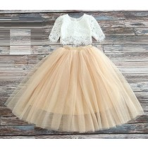 2pc Skirt & Lace Top - Champagne