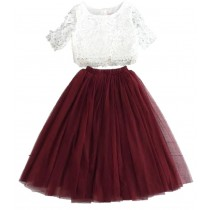 2pc Skirt & Lace Top - Burgundy