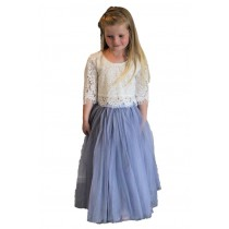2pc Skirt & Lace Top - Grey