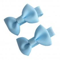 Mini Bow Hair Clips - (2pc) - Light Blue