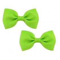 Bow Hair Clips - (2pc) - Green