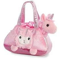 Fancy Pals Plush Peek-a-boo lamacorn Pet Bag