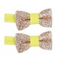 *Pink Poppy Fluro Mini Bow Hair Clip - Gold Sparkles