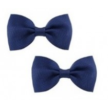 Bow Hair Clips - (2pc) -  Navy Blue