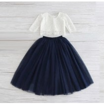 2pc Skirt & Lace Top - Navy