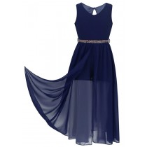 Playsuit with Overlay - Navy