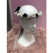Flower Garland - Navy with White & White Flowers