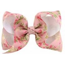 Floral Print Bow Hair Clip - Peach Floral