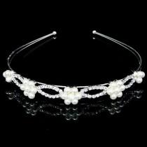 Rhinestone Headband - Pearl Flower