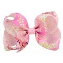 Floral Print Bow Hair Clip - Pink