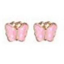 Pierced Earrings - Pink Butterfly