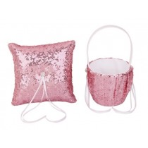 Flower Basket/Ring Pillow - Sequin - Pink