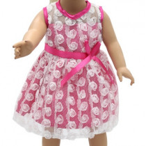 """18"""" Sparkle Dress - Pink and White Floral"""