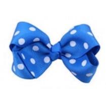 Mini Polkadot Bow Hair Clips - Blue