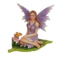6cm Sitting Fairies on Leaf - Purple