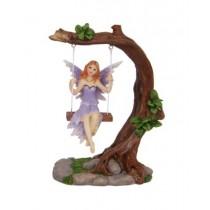 14cm Fairy on Tree on Swing - Purple