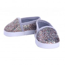 """18"""" Doll Shoes - Multi Sparkle Slip On Sneakers"""