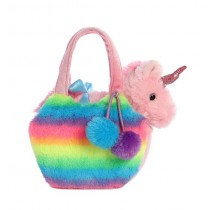 Fancy Pals Plush Rainbow Unicorn Pet Carrier
