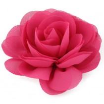 Chiffon Rose - Hair Clips - Hot Pink