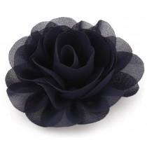 Chiffon Rose - Hair Clips - Navy
