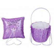 Flower Basket/Ring Pillow - Sequin - Purple