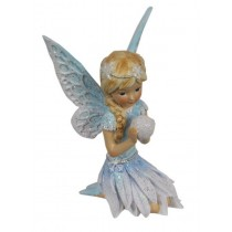 10cm Sitting Winter Fairy - Blue