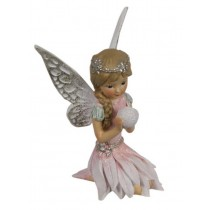 10cm Sitting Winter Fairy - Pink